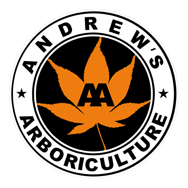 Andrew's Arboriculture Logo showing a Maple leaf in the centre surrounded by the words Andrew's Arboriculture.